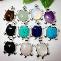 Wholesale Jade Stone Necklaces - Natural stone turtle semi precious stone rose quartz amethyst jade tiger's-eye necklaces pendants 11 colors for choices