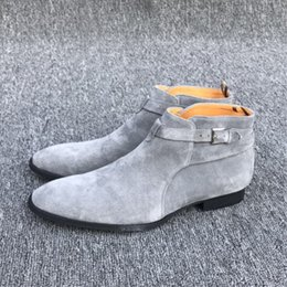 Wholesale Men Pointed Short Boots - Exclusive Handmade NEW 2017 gray color Paris GD Qing-Zhilong Top quality Short Ankle strap suede JODHPUR Catwalk ankle Boot