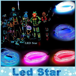 Wholesale Battery Cable Wire - 1M  2M  3M  5M Flexible Led Neon Light flexible EL Wire Rope Tube Cable+Battery Controller Water Resistant LED Light