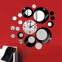 Wholesale Diy 3d Mirror Wall Clock - Abstraction DIY SILVER BLACK Circles Mirror Wall Stickers Sex Clock 3D Wall Clock Modern Design Living Room Decorations Acrylic Wall Clock