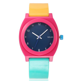 Wholesale Tan Sport Watch Plastic - Fashion Miler style Children's Plastic Wristwatches Students Sports Watches Birthday Gift For Kids Girls And Boys Colourful ML37