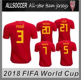 Wholesale Polyester Tshirts - 2018 world cup JERSEYS spain home soccer tshirts Marco Asensio Pique ISCO Andres Iniesta Sergio Ramos Alvaro Morata Sergio Busquets
