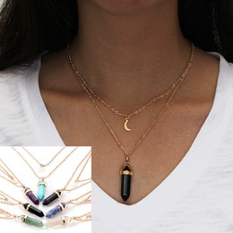 Wholesale Necklaces Glass Factory - Natural stone glass six Angle pendant necklace euramerican fashion double layers moon hexagonal prisms pendant necklace factory price