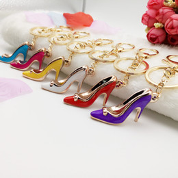 Wholesale Multicolor Handbags - High heels key chain High-heeled shoes handbags accessories car key ring chain pendant Multicolor high heel key ring