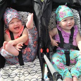 Wholesale Baby Floral Harem Pants - baby harem pant sets girls tights leggings cotton baby flower hats + floral leggings kids fall autumn long pants children trouser