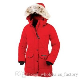 Wholesale Ladies Duck Down Jackets - Outdoor winter Canadian big goose down jacket ladies in the long section thickening warm fashion Slim hooded 8 color