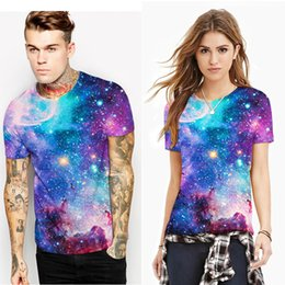 Wholesale Universe Shorts - Brand New Lovers Fashion T-Shirts O-Neck Pullover Short Sleeve 3D Printing Universe Tops Summer Clothing Loose Cozy S-2XL Free Shipping
