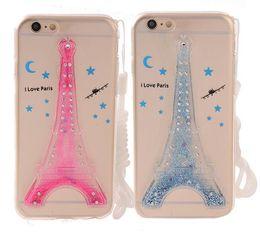 Nuevo TPU Transparente Case Eiffel Tower Design Cubierta trasera líquida con Sling Bling Bling Powder Fundas para teléfonos móviles para Iphone6 6plus desde fabricantes