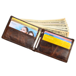 Wholesale Men Real Genuine Leather Wallet - 2016 high Quality Vintage Men Wallet Real Crazy Horse Leather Purse Cowhide Card Holder Coin Pocket Clutch Bag