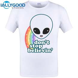 Wholesale Brand New Rainbow - Super cute alien head with rainbow Believe Cool Print Mens Summer T-shirt Funny Tops Hipster Hip Hop Tees Brand New Clothing 6XL