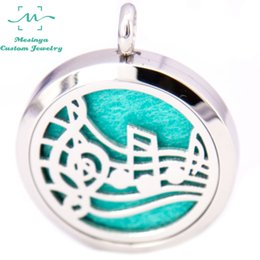 Wholesale Music Symbol Pendant - 10pcs silver color mesinya music symbol (30mm) Aromatherapy   Essential Oils Stainless Steel Perfume Diffuser Locket Necklace free felt pads
