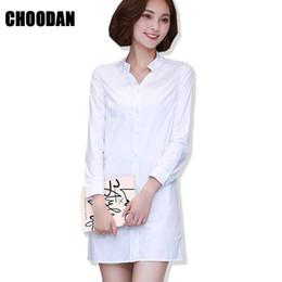 Wholesale Korea Fashion Winter Dress - White Shirt Dress Women Formal Winter Autumn Dress 2017 New Fashion Korean Ladies Office Stand Collar Korea Long Sleeve Dresses