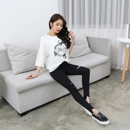 Wholesale Light Jeans For Women - 2017 New Fashion Summer Ripped Jeans For Women High Waist Jeans Sexy Plus Size Skinny Black Solid Pencil Pants For Women
