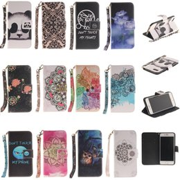 Wholesale Leather Case Painting Series - For Apple Series iPhone 6 Case iPhone 7 Case Painted Lanyard PU Leather Flip Cover Kickstand Protective Wallet Case with Card Slots
