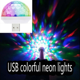 Wholesale Music Magic Led - LED USB Magic Ball Lights Mini Colorful Neon Light Stage Decoration Color Change Along With Music Rhythm USB Magic Ball For Cell Phone