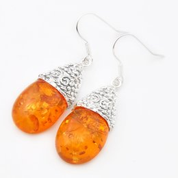 Wholesale Wholesale Unique Earrings - Luckyshine Christmas Day Two pieces lot 925 silver plated Unique charm restore ancient ways Amber earrings for lady party gift E0012
