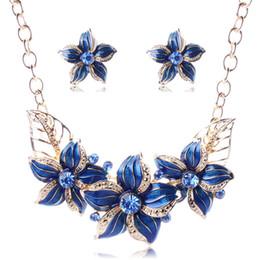 Wholesale Diamond Amethyst Necklace Blue - European and American accessories the fashion flower of fashion flower dripping oil diamond necklace earrings suit elegant popular simplicit