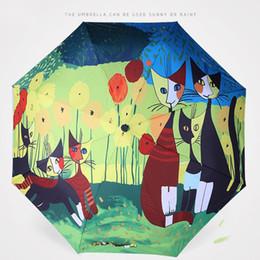 Wholesale Wholesale Artist Oil Paints - In Stock Umbrellas Italian Cat Artist Rossina Meow Star Umbrella Derivative Oil Painting Umbrella Folding Sun Umbrella Anti UV Wholesale