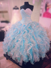 Wholesale Charming Quinceanera Dresses Ball Gown - Charming Crystals Beaded Quinceanera Dresses Light Sky Blue Organza Ruffles Prom Dresses 2017 Sweetheart Ruffles Lace Up Formal Party Gowns