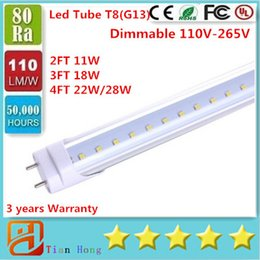 Wholesale dimmable led t8 - Dimmable Led Stock in US Dimmable 4ft 1200mm T8 Led Tube Light High Super Bright 11W 18W 22W 28W Led Fluorescent Bulbs AC110-240V