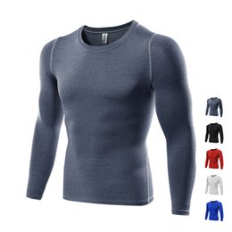 Wholesale Black Men Winter Shirt - Winter Brand Gym Fitness shirt Long Sleeves Men Sports Outdoor Exercise Fitness shirt Quickly Dry Fit Compression Running Training wear
