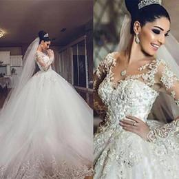 Luxo Árabe Vestido de Baile Vestidos de Casamento Querida V Pescoço Inchaço Vestidos de Noiva Ilusão Lace Appliqued Mangas Compridas Tule Saia Noivas Desgaste de