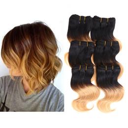 Wholesale Human Hair Extensions Dark Auburn - 6pcs lot 300g 50g pc Short Size 8 Inch Brazilian Body Wave Human Hair Extension 100% Human Hair Weaving