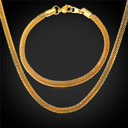 men gold chain sets Coupons - U7 Twist Foxtail Chain Necklace Bracelet 18K Real Gold Plated 316L Stainless Steel Fashion Men Jewelry Set Accessories Punk Style Gift