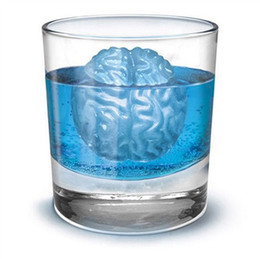 Wholesale Coloured Drinks - Free Shipping ! Brain Shape DIY Silicone Ice Cube Freeze Ice Maker Mold Bar Party Drink Mold Random Colour