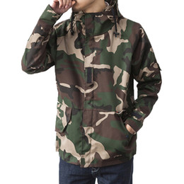 Wholesale Camo Camp Coats - Fall-Brand Harajuku Skateboard Sport Camouflage Outdoor Jackets Men Causal Hooded Camping Outdoor Coat Fashion Camo Mens Clothes