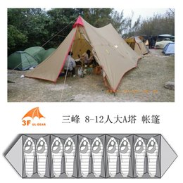 Wholesale outdoor large camping tent - Wholesale- 3f ul gear 8-12 Person Outdoor Camping Tent Large Tarp Sun Shelter 7*4m A Tower Base Camp Tents Fast Delivery to Japan