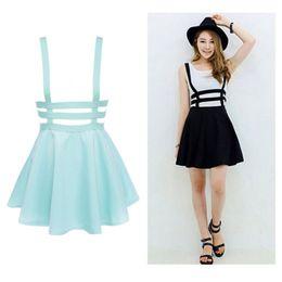 Wholesale Skater Skirts Wholesale - Wholesale- New Retro Women Hollow Mini Skater Skirt Summer Cute Suspender Clothes Straps High Waist Skirts Black White