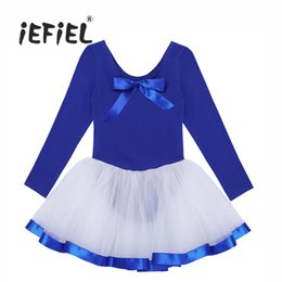 Wholesale Long Ballet Dresses - iEFiEL Girls Dance Wear Clothes Mesh Long Sleeves Ballet Dance Gymnastics Leotard Dress Back with Bowknot for Stage Performance
