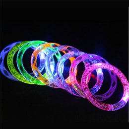 glow glitter Promo Codes - LED Bracelets Glitter Glow Flash Light Sticks Light up Flashing Bracelets Blinking Spike Bracelets Disco Bar Party decoration