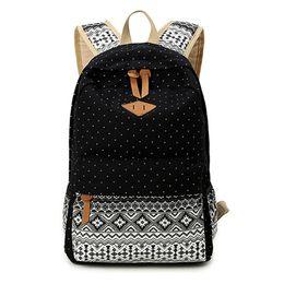 Wholesale Canvas Dots Backpacks For Girls - Korean Canvas Printing Backpack Women School Bags for Teenage Girls Cute Bookbags Vintage