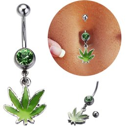 Wholesale Dangles Bell - 2016 New Arrival Green Leaves Piercing Belly Button Rings Pot Leaf Dangle Piercing Navel Ring Belly Button Piercing Jewelry