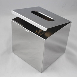Wholesale Tissue Box Stainless - Wholesale- Removable Desktop Cube Stainless Steel Tissue Boxes TOP Quality 304 8K Mirror stainless steel For Houseware hotel