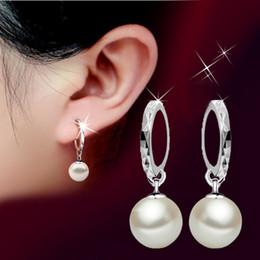 Wholesale Sterling Silver Heart Hoop Earring - Elegant Pearl earrings for women Jewelry eardrop 925 sterling silver Studs earring female glass shell pearl ear ring