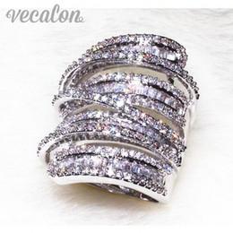 Plata de ley antigua online-Vecalon Antique Big ring Mujeres Hombres Joyería 20ct Diamante simulado Cz 925 Sterling Silver Wedding Band anillo de compromiso para las mujeres
