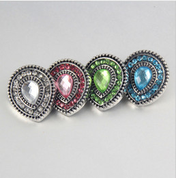 Wholesale Diamond Shaped Button - 20mm Noosa Snap Button With Diamond Heart Shaped Charm Button Bracelets Diy Jewelry Button For Earrings Rings Bracelets Pendant Necklace