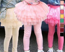Wholesale Tight Mini Orange Skirt - children spring autumn leggings trousers skirt girl pompin skirt baby cotton tights pantskirt kids safe under wear fake two piece D009