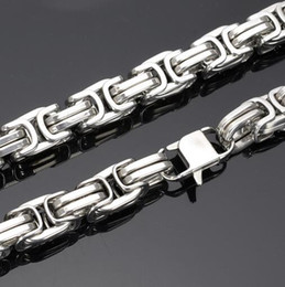 Wholesale Chunky Silver Link Necklace - Fashion Cool Chunky 8mm 12mm 15mm 316L Stainless steel Byzantine Link Chain Necklace Men Jewelry 24'' Heavy Huge Silver