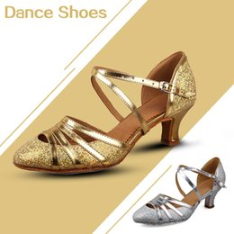 Wholesale Flamenco Shoes - 2016High quality new arriver Fashion ballroom latin shoes ladies Gold   Silver colors  Hot in selling