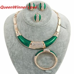 Wholesale Earing Set Crystal - 18K Western Africa White Crystal Green Gold Plated Jewelry Sets Necklace Braceletes Earing Ring Hot Sale Fahion Jewelry Sets For Women QW-20