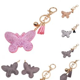Wholesale Romantic Bags - High Quality Leather Keychain Girl's Romantic Rhinestone Butterfly Pendant Key Chains Rhinestone Bag Keychain 4 Styles Free DHL D310Q