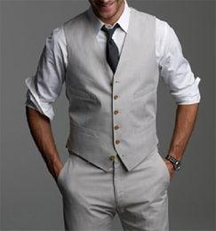 Wholesale Formal Waistcoats - New Light Gray Wedding Groom Vests 2017 Custom Made Slim Fit Normal Mens Waistcoat Vest V016