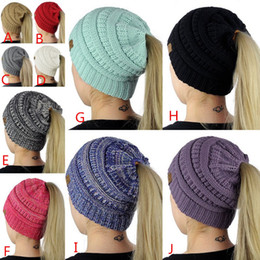 Wholesale Purple Label - 10 Colors CC Label Women Woolen Hats Trendy Soft Cap Warm Autumn Winter Ponytail Beanies Hats Casual Fashion Solid Knitted Hat