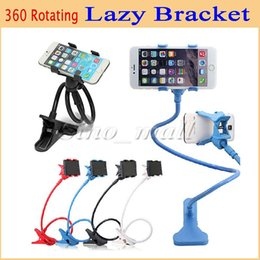 Wholesale Color Mixing Table - 360 Rotating Flexible Long Arm Two-Clip Universal Bracket Durable Table Bed Lazy Bracket For Samsung Iphone6 plus 30pcs Free DHL