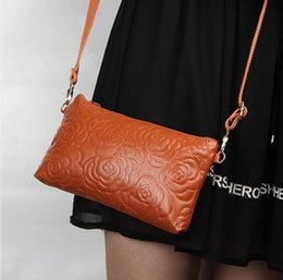 Wholesale Korean Leather Bags Women - Women Clutches 2016 Designer Fashion Roses 100%Genuine leather Messenger Bag Crossbody Bags Leather Handbags Shoulder Small Bag