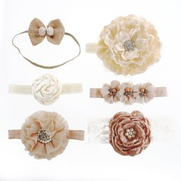 Wholesale Clover Bow - Baby Headband Set Shabby Tulle Flower Big Satin Small Triple Four Leaf Clover Flower Matching Spark Pearl Big Cotton Fabric Bow Nylon